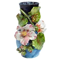 century, French, Barbotine, Majolica, floral vase with hand-crafted and hand-painted floral hollyhock design in three-dimesional reli. Christmas In Paris, Vases For Sale, Keramik Vase, Ceramic Flowers, Fruit Art, Flower Vases, Flower Arrangements, Pottery Art, French Antiques