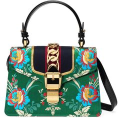 Gucci Sylvie Floral Jacquard Mini Bag (92,760 DOP) ❤ liked on Polyvore featuring bags, handbags, borse, green, top handles & boston bags, women, white handbags, gucci purse, chain handbags and boston bag