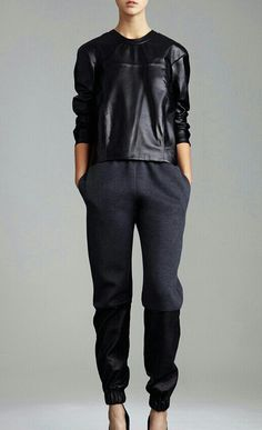 leather + wool lounge pant. I would actually do this...at some point in the far away future...