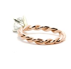 """Hand Twisted Rope Engagement Ring and Wedding Band Set, Bridal Set, 1 Carat """"Forever Brilliant"""" Moissanite Anniversary Ring, Rose Gold, FB.M.TROPE - mondi.nyc"""