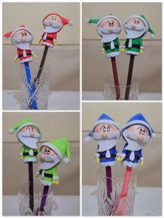 ♥♥ Hobi Vakti ♥♥: Evadan Yaptığım Noel Babalar 25 Days Of Christmas, Diy Christmas Tree, Winter Christmas, Foam Crafts, Diy And Crafts, Clay Pen, Pen Toppers, Pipe Cleaner Crafts, Foam Sheets