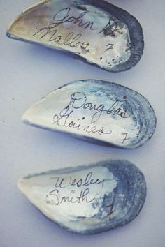 Oyster shell place tags #beach #wedding #idea