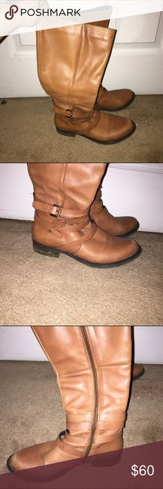 Steve Madden brown leather boots size 7 Side detailing Steve Madden Shoes