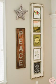 via The Inspired Apple: Hang a long window or divided frame and easily switch out display items by taping them to the glass. Diy Furniture Renovation, Old Windows, Hanging Pictures, House Tours, Christmas Decorations, Gallery Walls, Display, Apple, Inspired