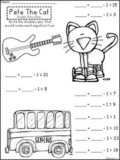 Free Pete The Cat  Doubles Minus One Practice.  Includes Doubles Plus One And Simply Doubles.  Not For Profit...For Educational Use Only. Enjoy! Regina Davis at Fairy Tales And Fiction By 2.