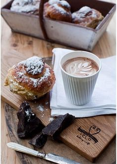 A perfect morning combo... Pastry, coffee and dark chocolate! (Suz)