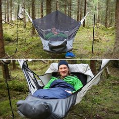 Camping Hammock with inflatable sleeping pad that let you sleep flat and also keeps you warm on at night.