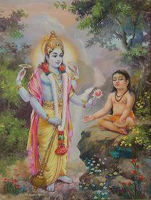 Lord Vishnu blesses his devotee Dhruv. Radha Krishna Images, Lord Krishna Images, Krishna Radha, Krishna Pictures, Hanuman Photos, Radha Rani, Shiva Art, Hindu Art, Shiva Shakti