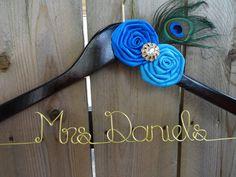 PEACOCK Personalized Wedding Hanger, Bride Hanger, Bridal Hanger, Name Hanger, Rhinestone, Peacock Feather