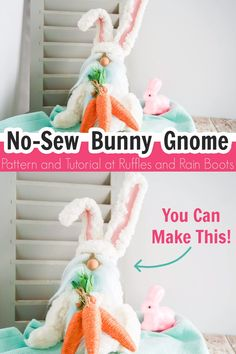"This no-sew Easter gnome tutorial is going to make everyone say, ""Aww!"" It's a quick DIY, so let's get started with our bunny gnome! Pink Crafts, Bunny Crafts, Cute Crafts, Easter Crafts, Diy Crafts To Sell, Gnome Tutorial, Doll Tutorial, Craft Fur, Rubber Band Crafts"