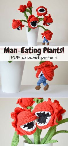 Oh wow! So FUN! Bouquet of man-eating plants crochet pattern! With a little man being eaten! How awesome is this amigurumi pattern!?! #etsy #ad #flowers #pdf #crochet #pattern #instant #download #printable
