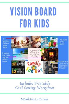 Easy and engaging Vision Board for Kids with step by step instruction use ideas and FREE goal-setting worksheet for kids. Worksheets For Kids, Activities For Kids, Physical Activities, Digital Vision Board, Goal Setting Worksheet, Board For Kids, Setting Goals, Goal Settings, 12th Book