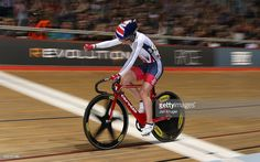 Laura Trott of Great Britain punches the air as she wins the womens Elimination Race during the Elite Track Cycling Revolution Series at National Cycling Centre on January 2, 2016 in Manchester, England.