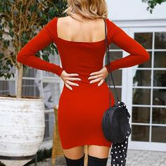 4955f62127 DongDong Womens Camisole Long Sleeve Square Neck Mini Dress Fashion Dress      Find out