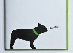 French Bulldog Letterpress Printed Bonjour Card by vandaliastreetpress