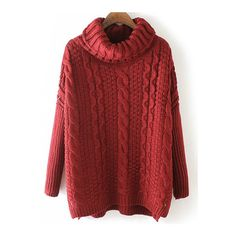 SheIn(sheinside) Burgundy High Neck Cable Knit Loose Sweater (€25) ❤ liked on Polyvore featuring tops, sweaters, burgundy, loose tops, high neck sweater, red top, loose fitting sweaters and red cable knit sweater