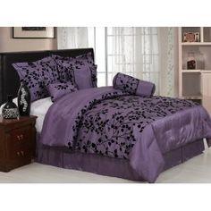 New bedding for next year! Purple with black velvet floral flocking comforter set, Amazon.com
