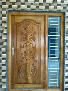 Single Main Door Designs, House Main Door Design, Wooden Front Door Design, Pooja Room Door Design, Wood Front Doors, Door Design Interior, Wooden Doors, Main Entrance, House Entrance