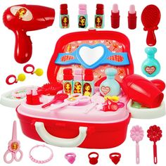 Pretend Play Children's cosmetics simulation little girl dressing table princess makeup non-toxic jewelry set girl toys - New Ideas Little Girl Toys, Toys For Girls, Kids Girls, Toddler Girls, Little Girls Dressing Table, Tinker Toys, Princess Makeup, Toys For 1 Year Old, Baby Doll Accessories