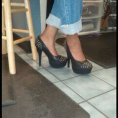 High Heel Studded Pumps no trades Date Night Shoes - 5 inch heel Black with Gold Studs runs .5 size small Shoes Heels
