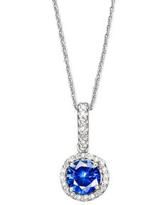 Something blue wedding necklace - Velvet Bleu by EFFY Diffused Sapphire (1 ct. t.w.) and Diamond (1/10 ct. t.w.) Pendant Necklace in 14k White Gold, Created for Macy's
