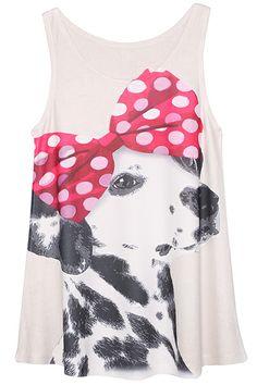 ROMWE | ROMWE Bowknot Dalmatian Print Extra-long White Vest, The Latest Street Fashion