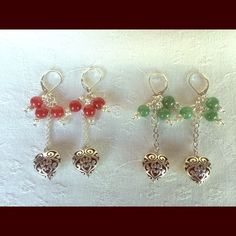New!Earrings with Red or Green Agate New!Earrings in Indian Silver and Red or Green Agate gemstones with Silver 925 hook. Never worn. Price is $ 15 each. You are very welcome to request your favorite color!!!! Jewelry Earrings