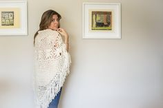 This chic crochet shawl was made by hand using traditional methods. It is made of 100% organic, non-dyed merino wool which and been spun by hand. It is light, and super soft.  It is prefect for a nice stroll during the Fall-Winter season. It will keep you warm and stylish. It also makes for the couch or lap throw blanket. Truly a beautiful and versatile piece.    ♔ THE WOOL ♔  Natural 18 micron Uruguayan Merino Wool Organic Sustainable Fair Trade No dyes No chemical treatments    ♔ THE…