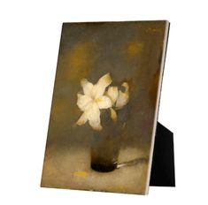 Glass with Lily on tile with easelback Exhibition Space, Art Reproductions, High Gloss, Masters, Tiles, Museum, Display, Ceramics, Bird