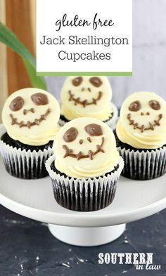 Easy Jack Skellington Cupcakes Recipe for Halloween Gluten Free - Perfect for Disney lovers, these Nightmare Before Christmas Cupcakes are so quick and easy to make.