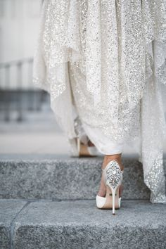 gold sequined Sarah Seven wedding gown and bejeweled Badgley Mischka peep-toed shoes. Ventura wedding photographer | Anna Delores Photography