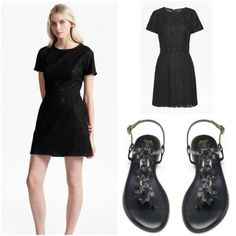 How to wear your interchangeable sandals Slinks. Simple black dress and Slinks, we love.