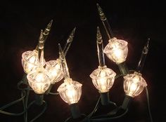Set of 7 Clear Retro Christmas Bubble Lights with Silver Glitter Green Wire | eBay