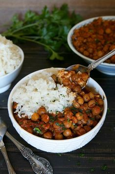 Slow Cooker Chickpea Curry Recipe is made from scratch with very little effort.  The thick sauce goes great with rice and it also freezes perfectly.  #maindish #vegandinner #vegan #glutenfree #veganrecipes #veganfood #curry #vegetarian #dairyfree #veganinthefreezer via @VeganFreezer