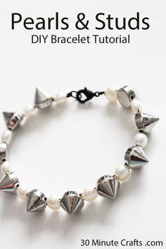 pearls and studs DIY bracelet tutorial
