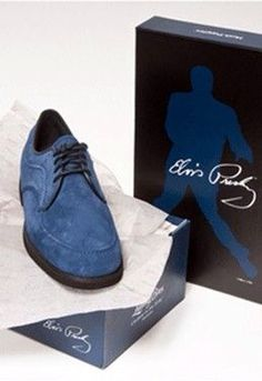Lansky Brothers' limited edition commemorative Elvis Presley blue suede shoes and collectors shoe box.