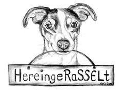 """Willkommensschild, Jack Russell Terrier Amy wünscht """"Hereingerasselt"""", Zeichnung"""
