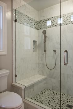 Contemporary 3/4 Bathroom with Stained glass window, Bar shower, Marble wall tile, Master bathroom, Tile strip
