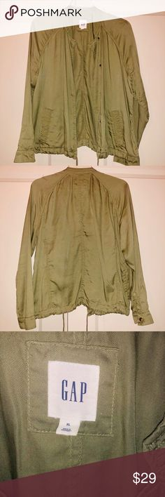 2ac499f00bf2 Gap Olive Green Tencel Utility Style Jacket Gap Olive Green Tencel Utility  Style Jacket Light weight