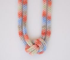 Sorbet Knitted Knotted Necklace...could probably crochet these too!