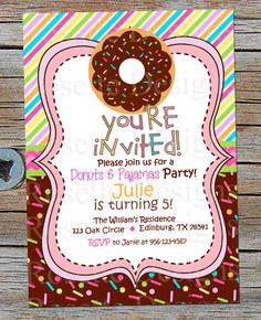 DONUT - doughnut theme - sprinkle theme - sweet tooth - donut birthday invitation - doughnut invitation - multi color