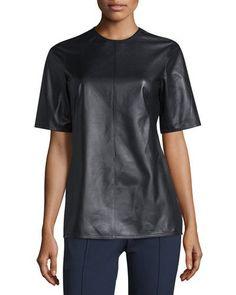Escada+Leather+Top+W+Back+Tie+Black+|+Clothing