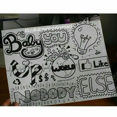 What Makes You Beautiful Lyrics, well, the One Direction boys are so adorable, and little do they know, everything makes me beautiful! Lyric Drawings, One Direction Drawings, Word Drawings, One Direction Art, Tumblr Drawings, Drawing Quotes, Doodle Drawings, Easy Drawings, Doodle Art