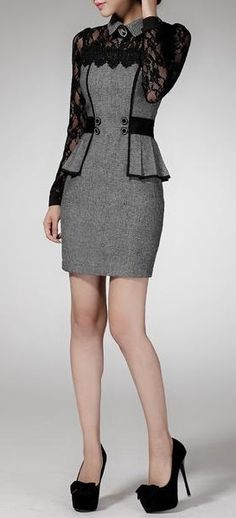 Women's Casual Autumn Slim Business Gray Lace #Dress _________Zorket Provides Only Top Quality Products for Reasonable Prices + FREE SHIPPING Worldwide_________