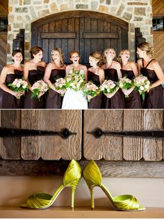 i've always wanted green for my bridesmaids but i love brown too! never thought of the two together!