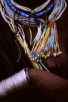 Africa | Colorful decoration.  Lower Omo Valley  Ethiopia
