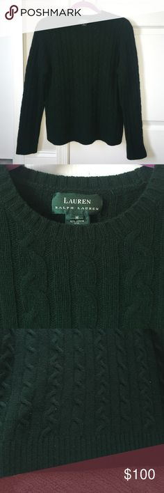 Brand new wool and cashmere Ralph Lauren sweater Brand new, never before worn, Lauren Ralph Lauren hunter green cashmere and wool classic cable sweater! So soft and stylish, great for all weather. Lauren Ralph Lauren Sweaters Crew & Scoop Necks