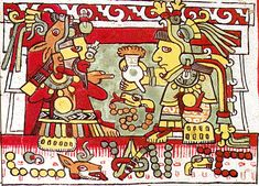 codex nuttall - woman on the throne passes chocolate to a Mixtec Lord