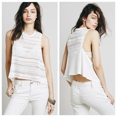 ✨HP!✨ Free People Elderflower Tank White FP Elderflower tank. Beautiful lace/crochet pattern top with open flyaway sides and darling little ties. Drapes nicely and looks great with a bandeau or bralette! Could also be worn as a swimsuit cover-up. A total summer must have ✨ Size L but runs a little small and could definitely fit a S/M as well. Free People Tops