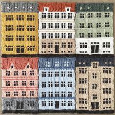Copenhagen's Distinct Architecture Knit into Color-Blocked Urban Landscapes by Jake Henzler (Colossal) Hand Knit Blanket, Knitted Blankets, Ravelry, Knit World, Knitting Patterns, Crochet Patterns, Knit Art, House Quilts, Pattern Blocks